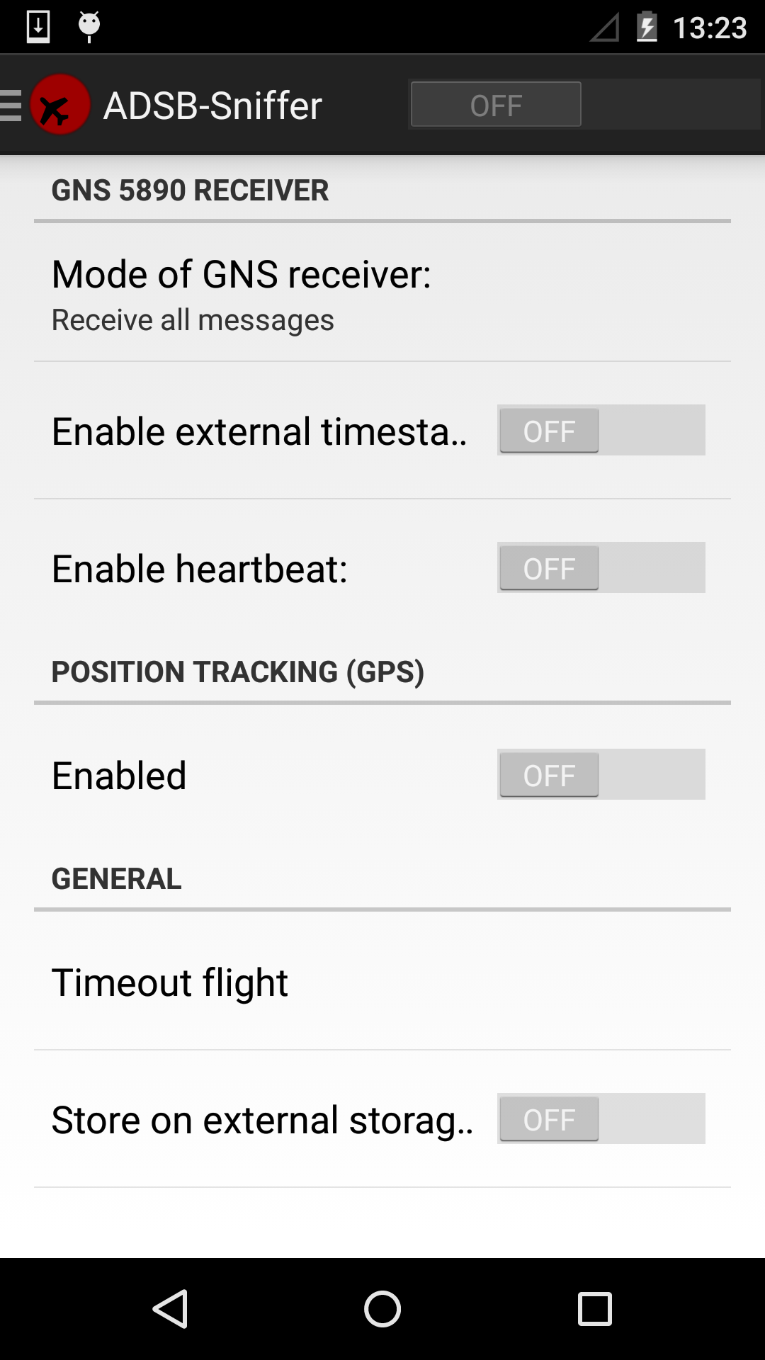 Android-based Mode S/ADS-B Recorder